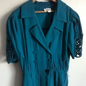 80's teal double breasted collared unique dress